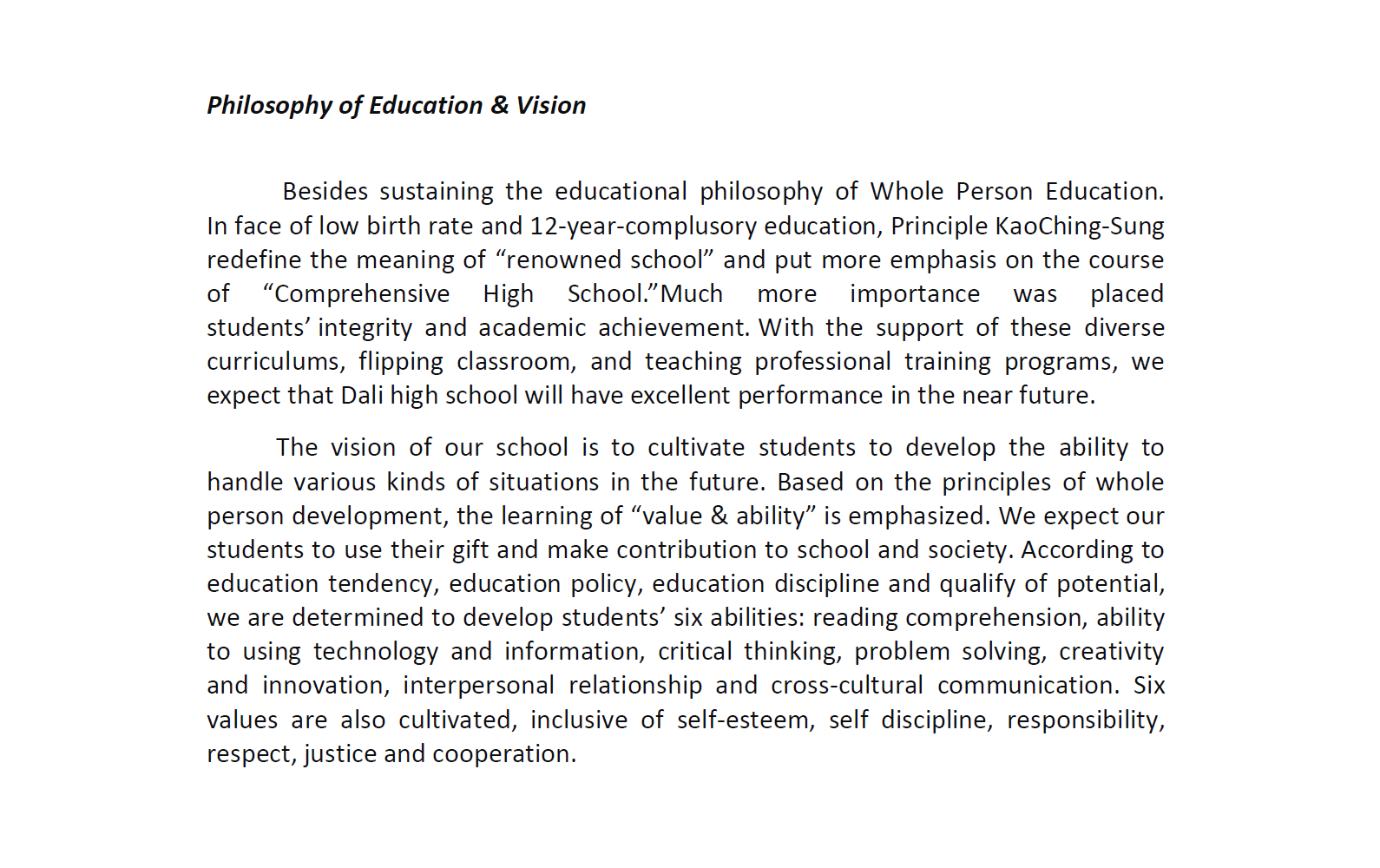 Philosophy of Education & Vision