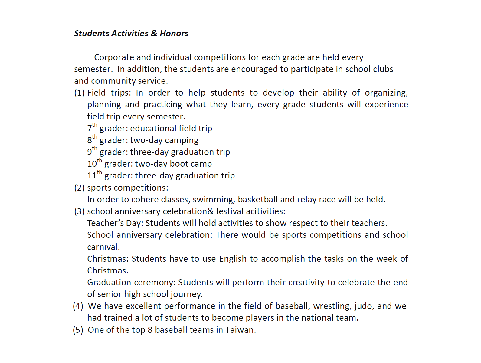 Students Activities & Honors